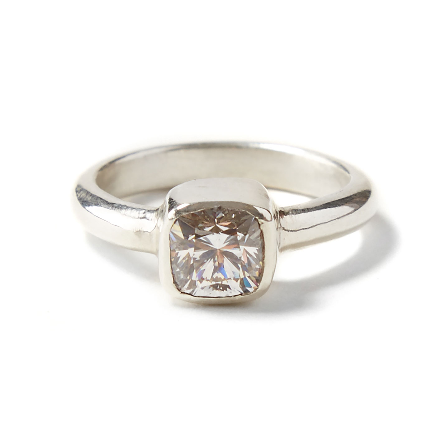 Cushion Cut 1ct. Ethical Diamond Ring set in 9ct. White Gold.