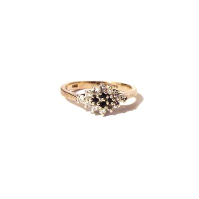 Treasures-Of-Old-Diamond-and-Saphire-Cluster-Ring