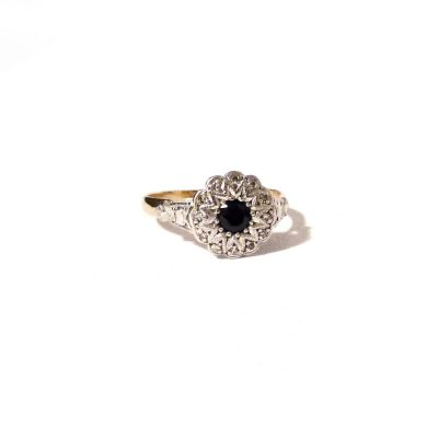 Treasures-Of-Old-Diamond-and-Saphire-Flower-ring-