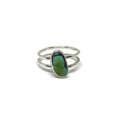 Turquoise Pebble Double Band Ring